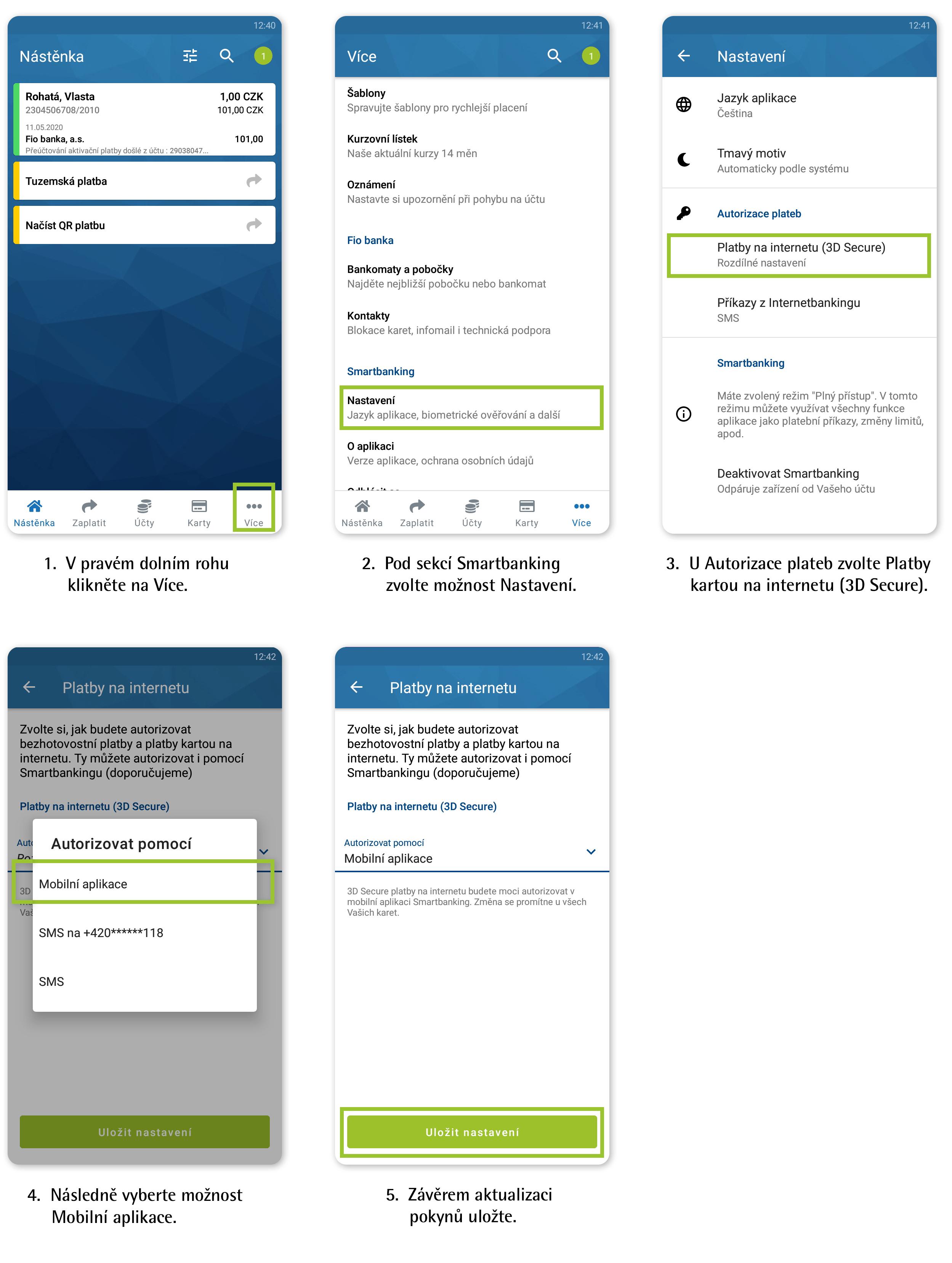 Návod: Nastavení push notifikací pro platby kartou na internetu