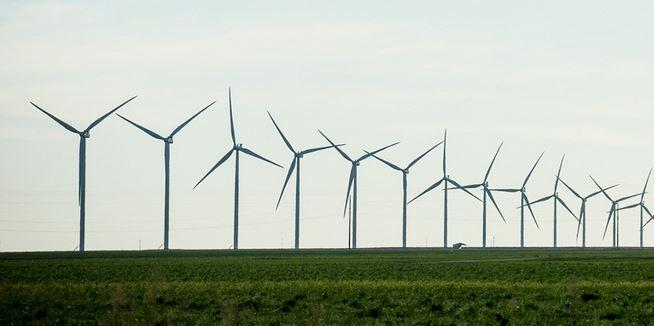 Turbíny společnosti Vestas v South Plains, Texas, USA