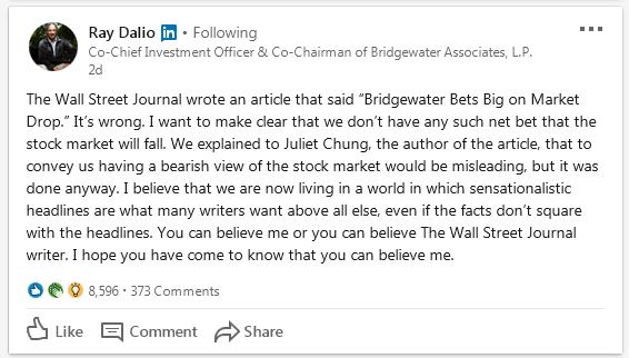 Prohlášení Raye Dalia, zdroj: LinkedIn