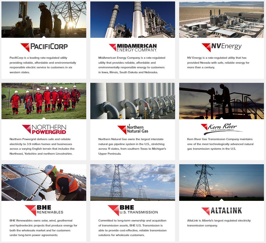 Dceřiné společnosti Berkshire Hathaway Energy působí v řadě segmentech
