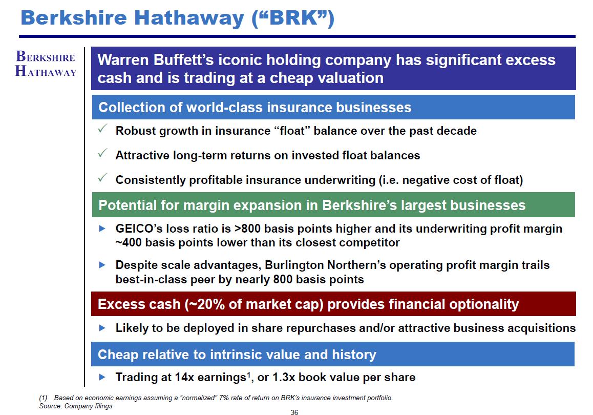 Snímek o investici do Berkshire Hathaway z výroční prezentace Pershing Square pro investory