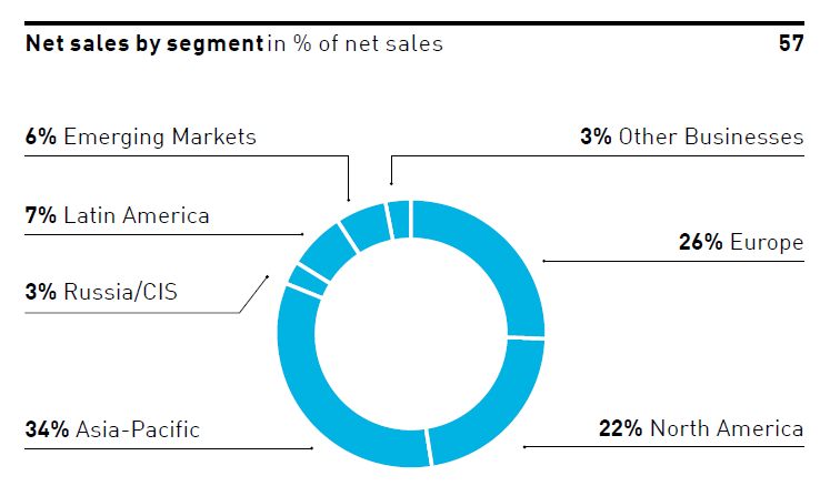 Podíl jednotlivých regionů na tržbách společnosti Adidas