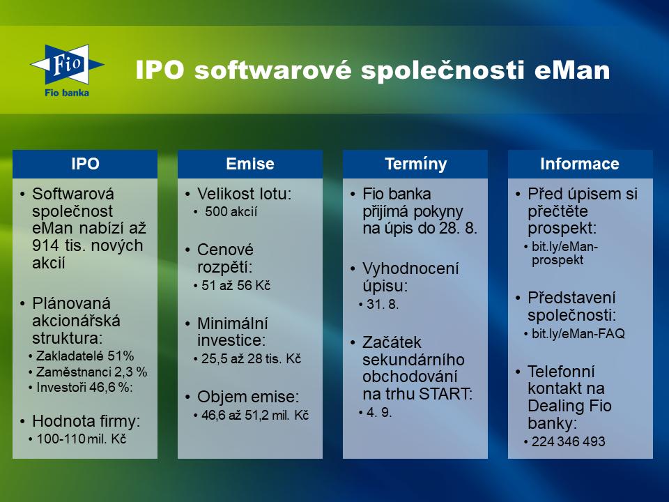 Stručné informace o IPO společnosti eMan