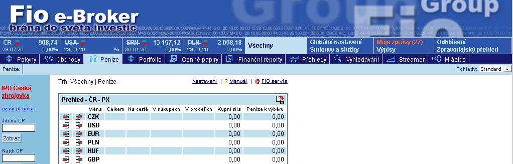 Screenshot obchodní platformy e-Broker s odkazem na formulář pro elektronický úpis