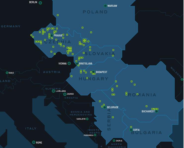 Mapa průmyslových parků společnosti CTP