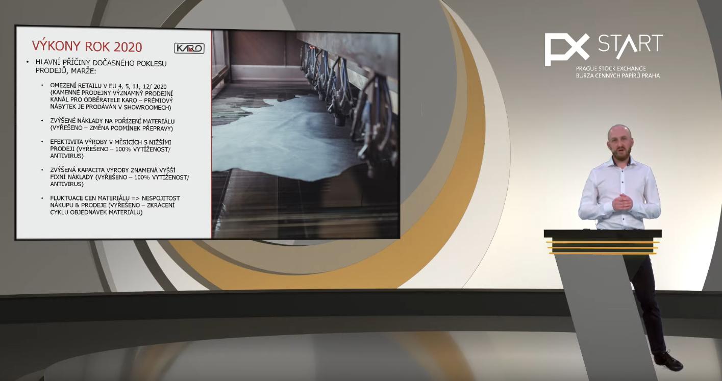Finanční ředitel společnosti Karo Invest na virtuálním START day pražské burzy