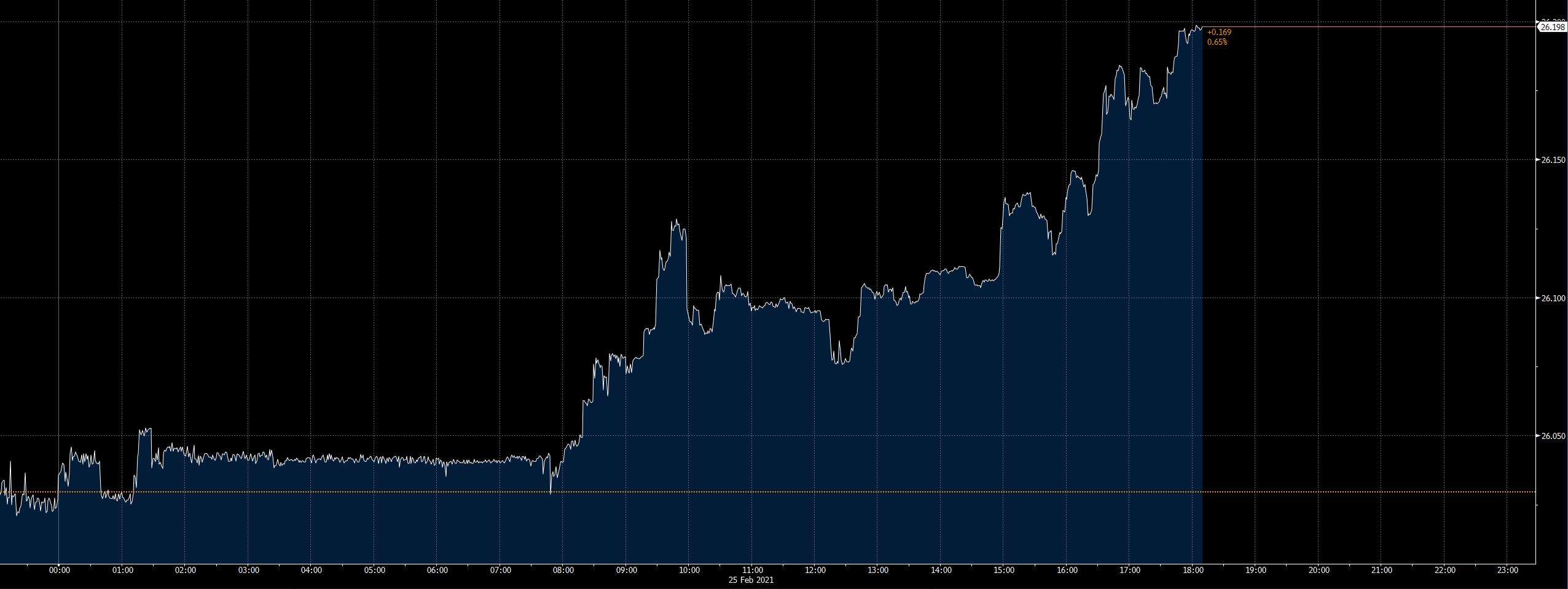 Denní vývoj měnového páru EURCZK (zdroj: Bloomberg)
