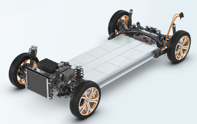 Podvozek elektromobilu z prezentace ke strategii.